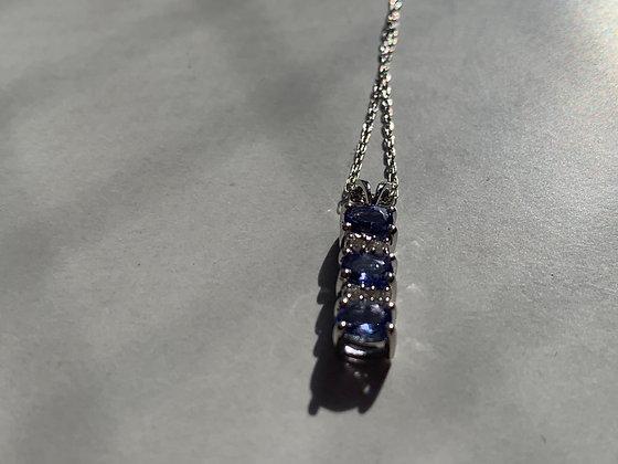 10K Solid White Gold Diamonds and Tanzanite Designer Necklace