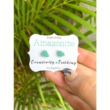 Amazonite Crystal Studs