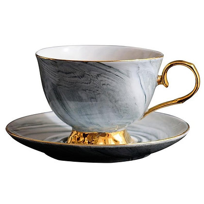 Grey and Gold marble cup with saucer