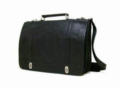 Leather Twist Lock Briefcase