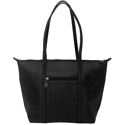 Leather Zip Top Tote Bag