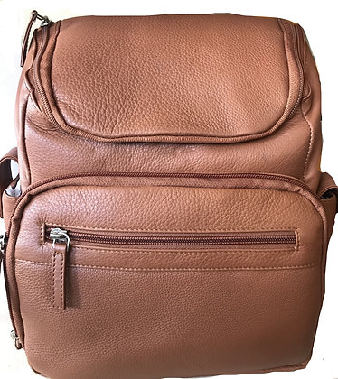 Zip Top Leather Backpack
