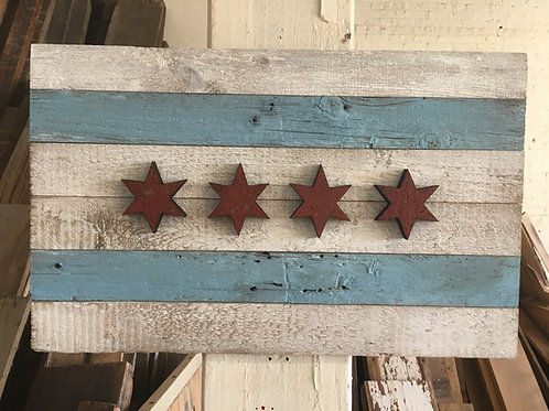 Reclaimed barn wood Chicago Flag