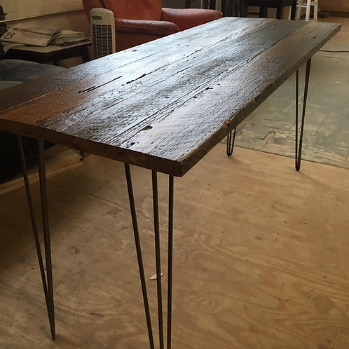 Reclaimed wood desk with steel hairpin legs