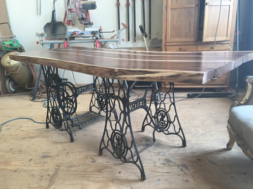 twin sewing machine leg table with black walnut top - Kitchen Table Sewing