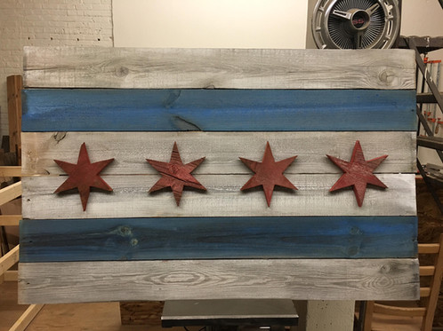 This Piece Of Art Is Created From Antique Barn Wood Siding That Had Been In  Part Of An Existing Barn For Decades Prior To Starting Again As A Chicago  Flag.