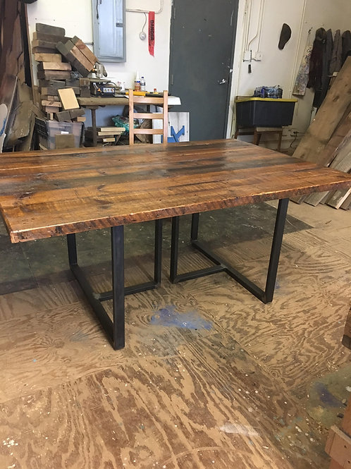 Reclaimed wood and steel tube leg dining or conference table