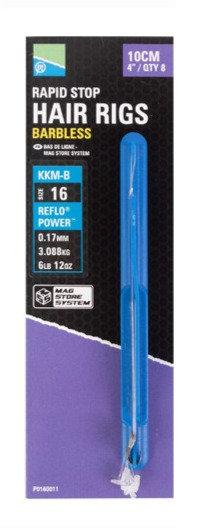 Preston Hair Rigs - Rapid Stop - Barbless KKM-B Hook - 10cm
