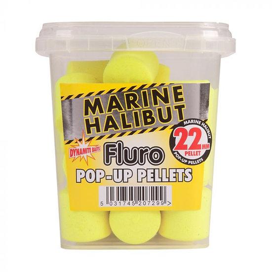 Dynamite 22mm Marine Halibut Yellow Fluoro Pop-Up Pellets