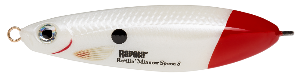 Rapala Rattlin' Minnow Spoon - Pearl White Red Tail - 8cm 16g