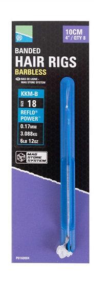 Preston Hair Rigs - Banded - Barbless KKM-B Hook - 10cm