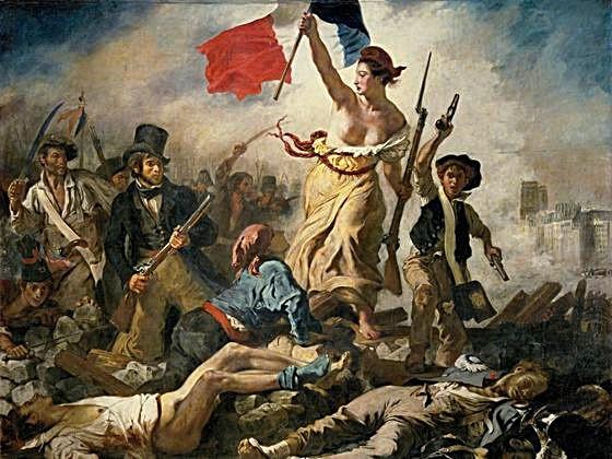 La libertad guiando al pueblo- Eugène Delacroix, 1830. Actualmente en museo de Louvre, París, Francia.