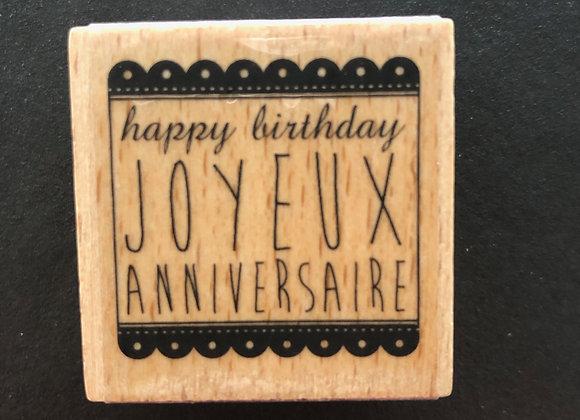 Tampon Bois - Joyeux anniversaire