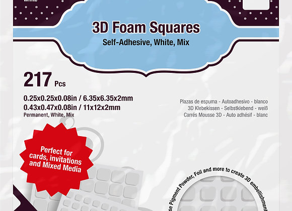 3D carrés de mousse adhésifs blancs