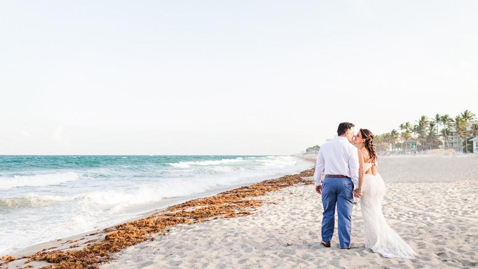 A beach wedding at Wyndham Deerfield Beach Resort for Mr. and Mrs. Reinstein's