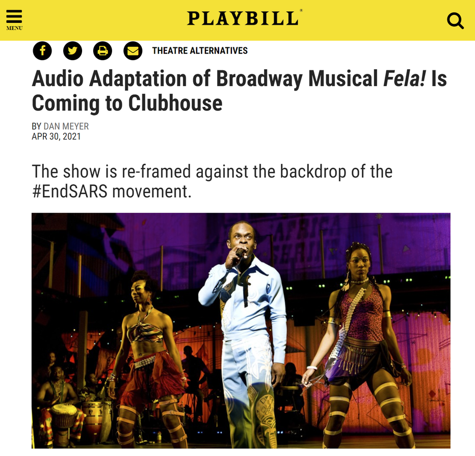 Playbill Article