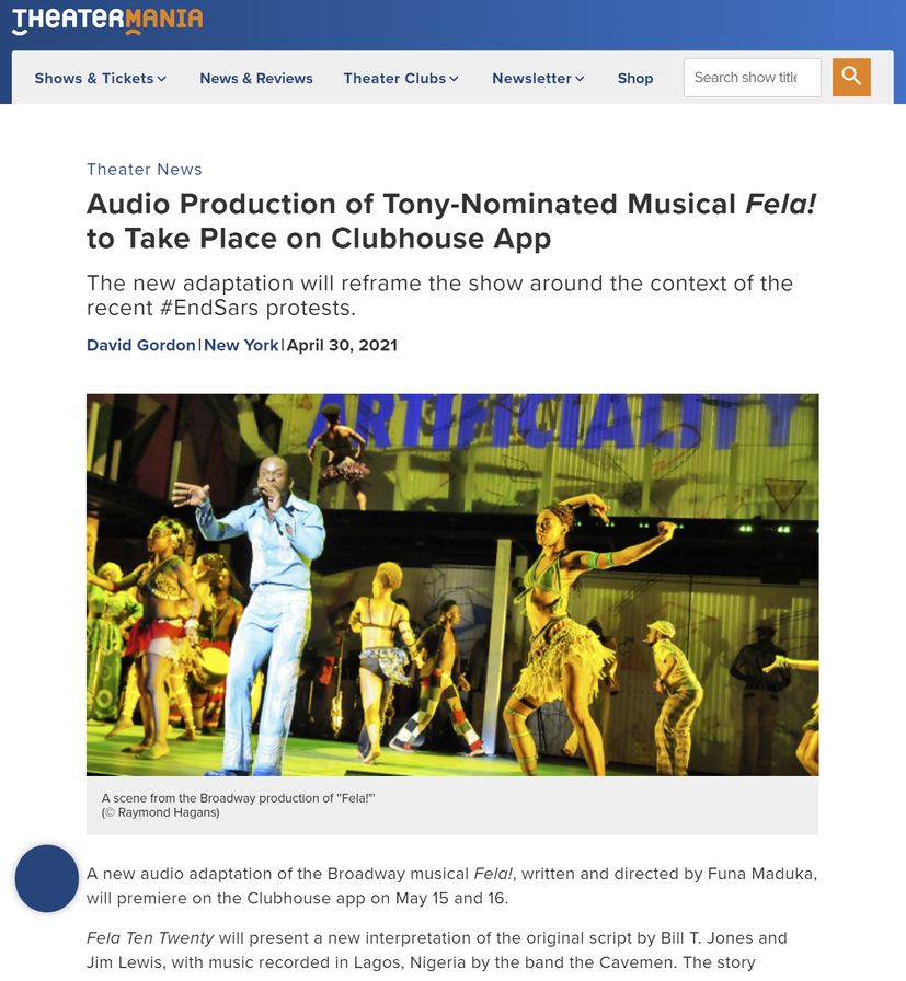 TheaterMania Article