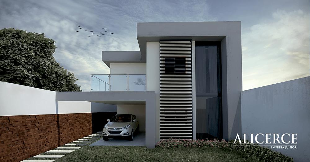 Render mostrando os detalhes de uma fachada residencial.