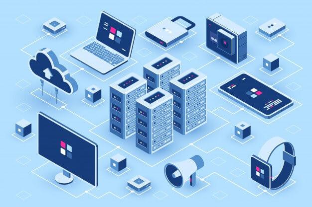 esquema em azul de rede tecnologica