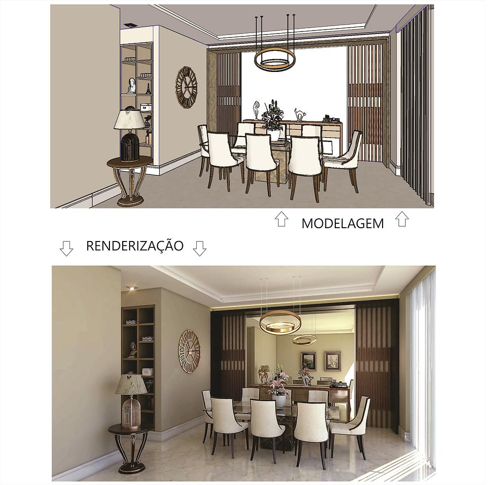 Comparativo entre a modelagem e posterior renderizaçãoo de uma cena.