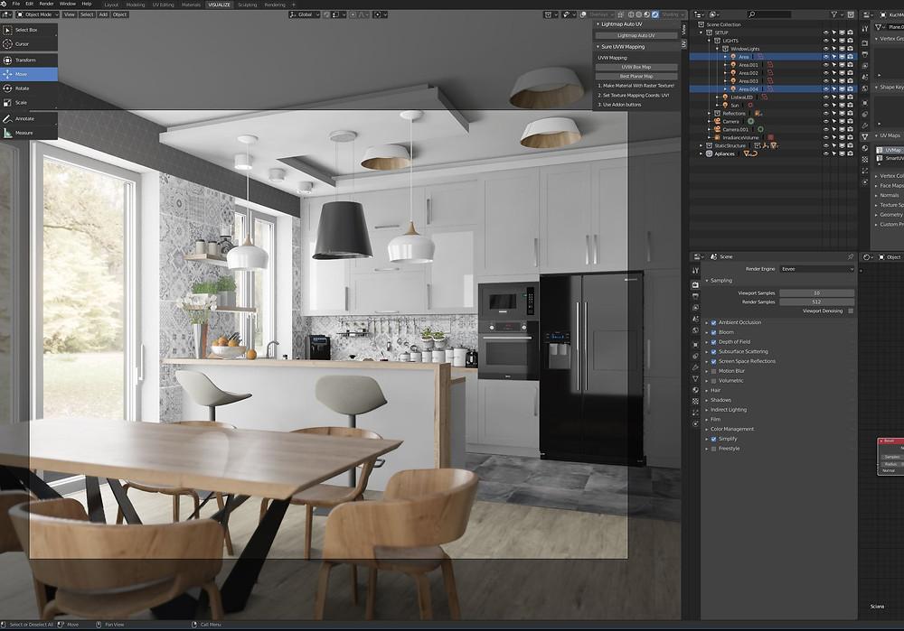 Viewport mostrando emtempo real a visualização realista de uma maquete 3d.