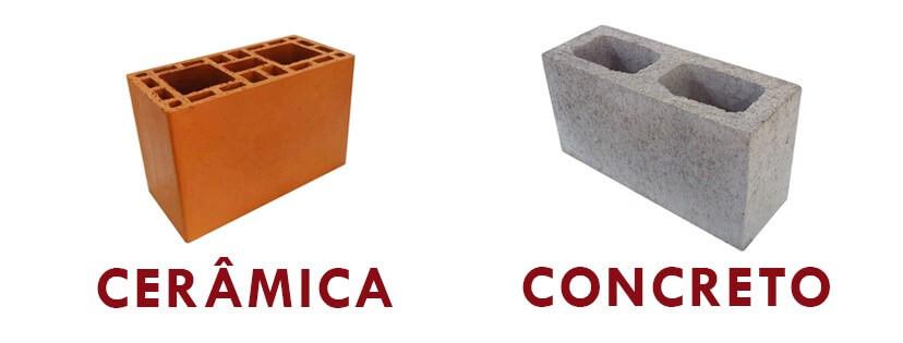 blocos estruturais de cerâmica e concreto