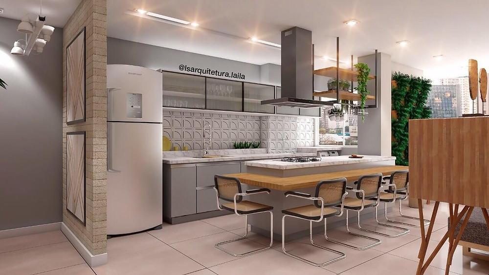 visualização 3d de cozinha em conceito aberto