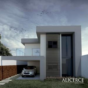 visualização 3d de uma fachada com o ceu nublado