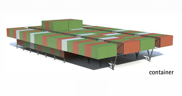estação de pesquisa feita em containers