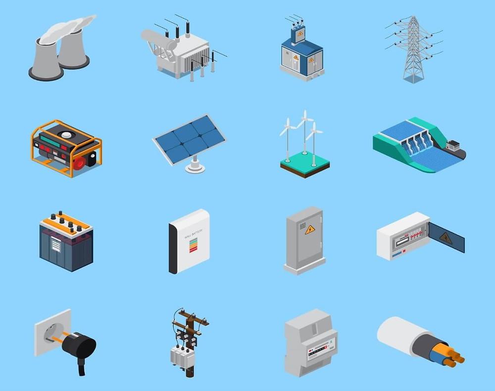 conjunto de icones de instalações elétricas