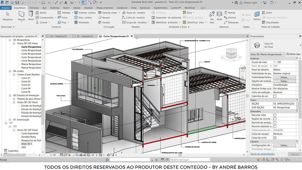 Viewport do revit mostrando um projeto de uma residência em corte.