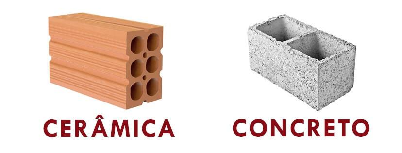 Blocos de vedação de cerâmica e de concreto