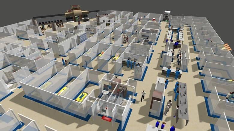 simulação de varios compartimentos de um ambiente de convivencia