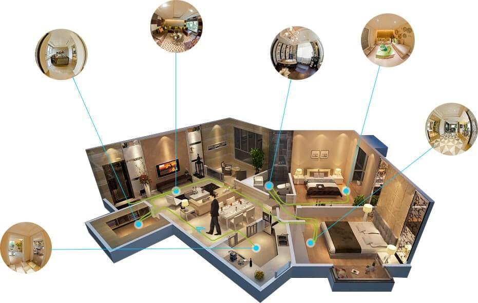 esquema de apartamento em visualização 3d com vários detalhamentos