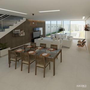 visualização 3d de sala de estar integrada à sala de jantar