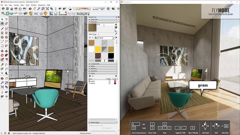 Render de uma cena interna sendo processado em tempo real pelo software Escape