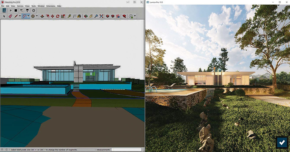 Modelagem feita no SketchUp e renderização feita no Lumion.