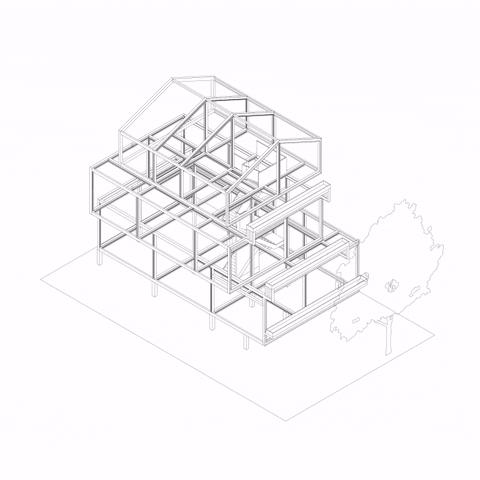 Projeto estrutural de residência de alto padrão desenvolvida no Revit.