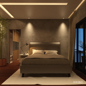 visualização 3d de um quarto durante a noite
