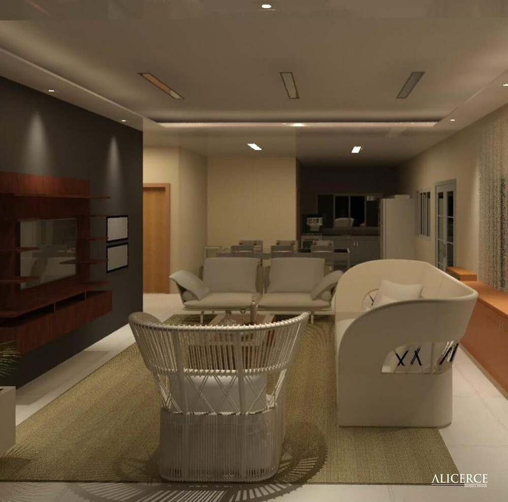 sala de estar em conceito aberto