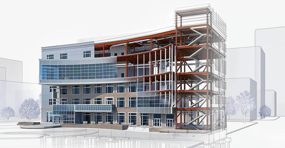 esquema 3d de um edificio em construção