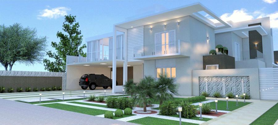 Render de fachada humanizada com paisagismo, texturas e iluminação.