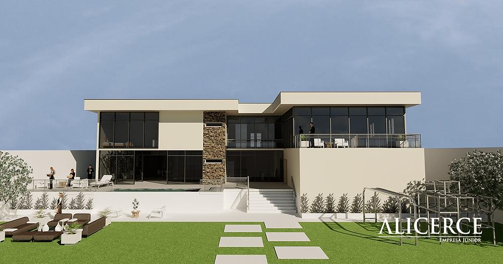 Visualização da fachada do fundo de uma casa, mostrando a área de lazer.