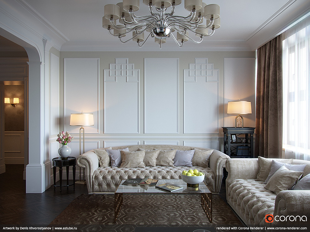 Render de uma cena do interior de uma casa utilizando o software Corona.