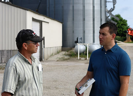 Chad consults with ag producer during on-site energy audit