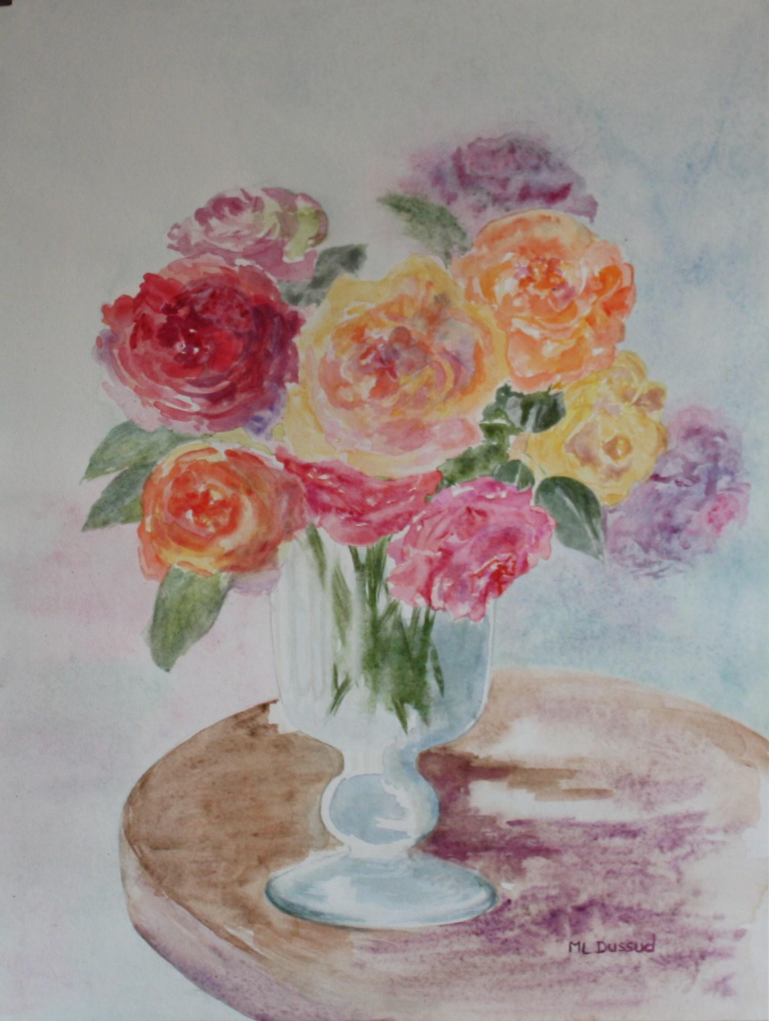 Roses et verre ancien