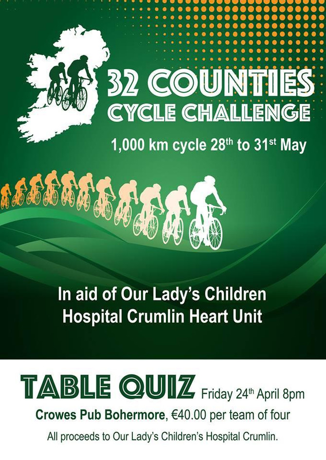 32 Counties Table Quiz - Friday 24th April