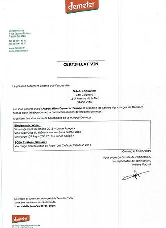 Certificat Vin Demeter 2019_Innowine_MAJ