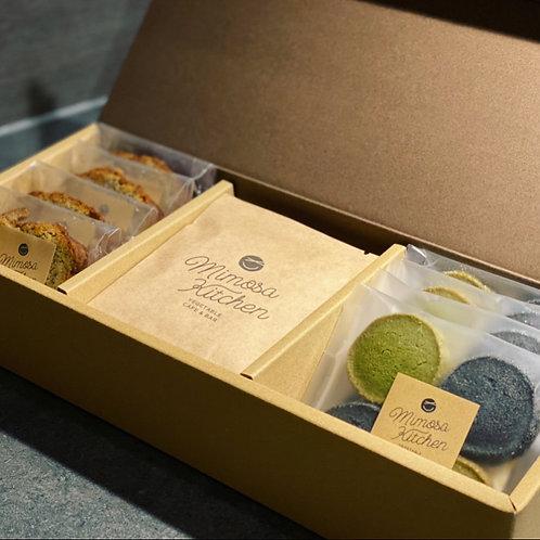Mimosa Kitchenのお菓子とスペシャリティーコーヒーの詰め合わせ【紅茶のパウンド&ほうれん草と竹墨クッキー】