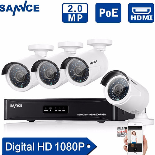 4CH 1080p POE CCTV System with 4 Cameras - Includes Installation